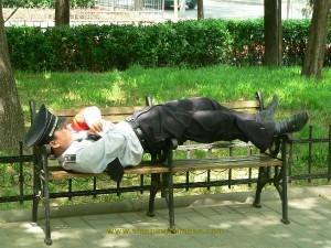 policier dort chine