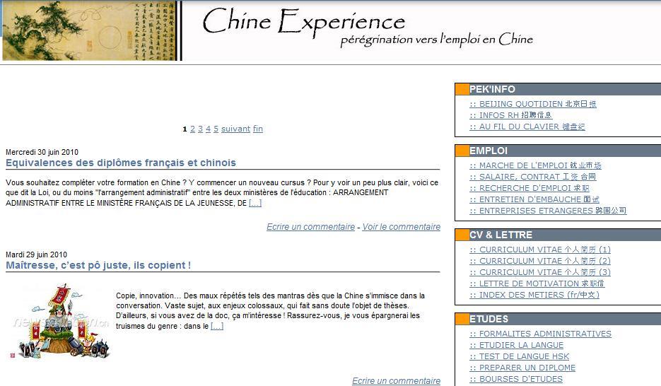 Chine expérience