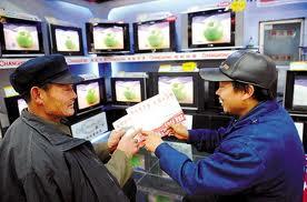 paysans chinois achètent une télévision