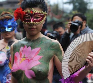 La peinture sur corps en Chine c'est chaud