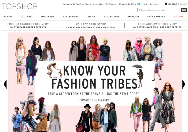 Topshop Chine web