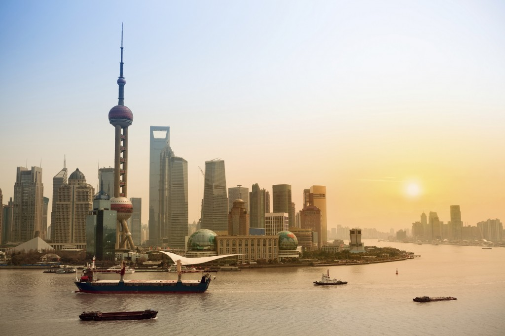 Chine-Shanghai skyline at dusk-iStockphoto