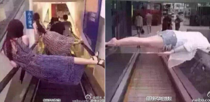 Riding escalator